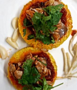 Shan Yellow Rice, Pork & tomato sauce.