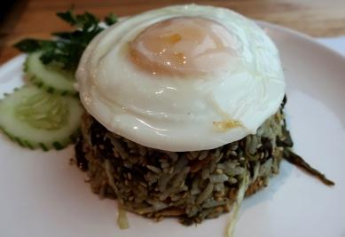 Fermented tea rice & egg.